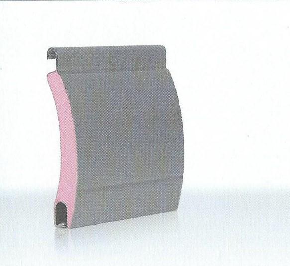 Profilo di tapparella in alluminio coibentato con poliuretano ad alta densità