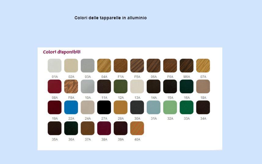 Catalogo dei colori disponibili per le tapparelle in alluminio coibentato: ci sono colori tinta unita, finto legno e metallizzati